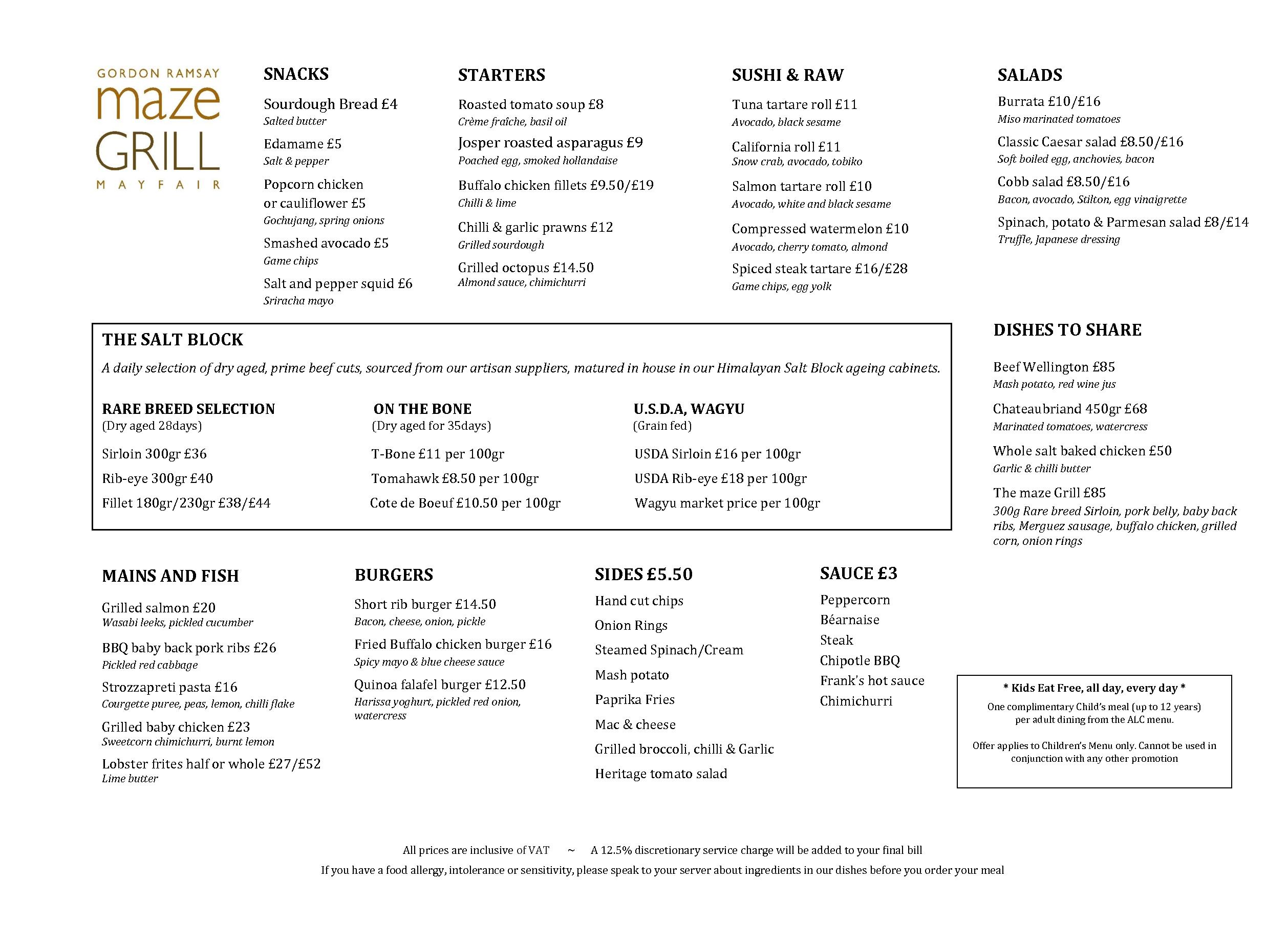 View our Menus - maze Grill Mayfair | Gordon Ramsay Restaurants