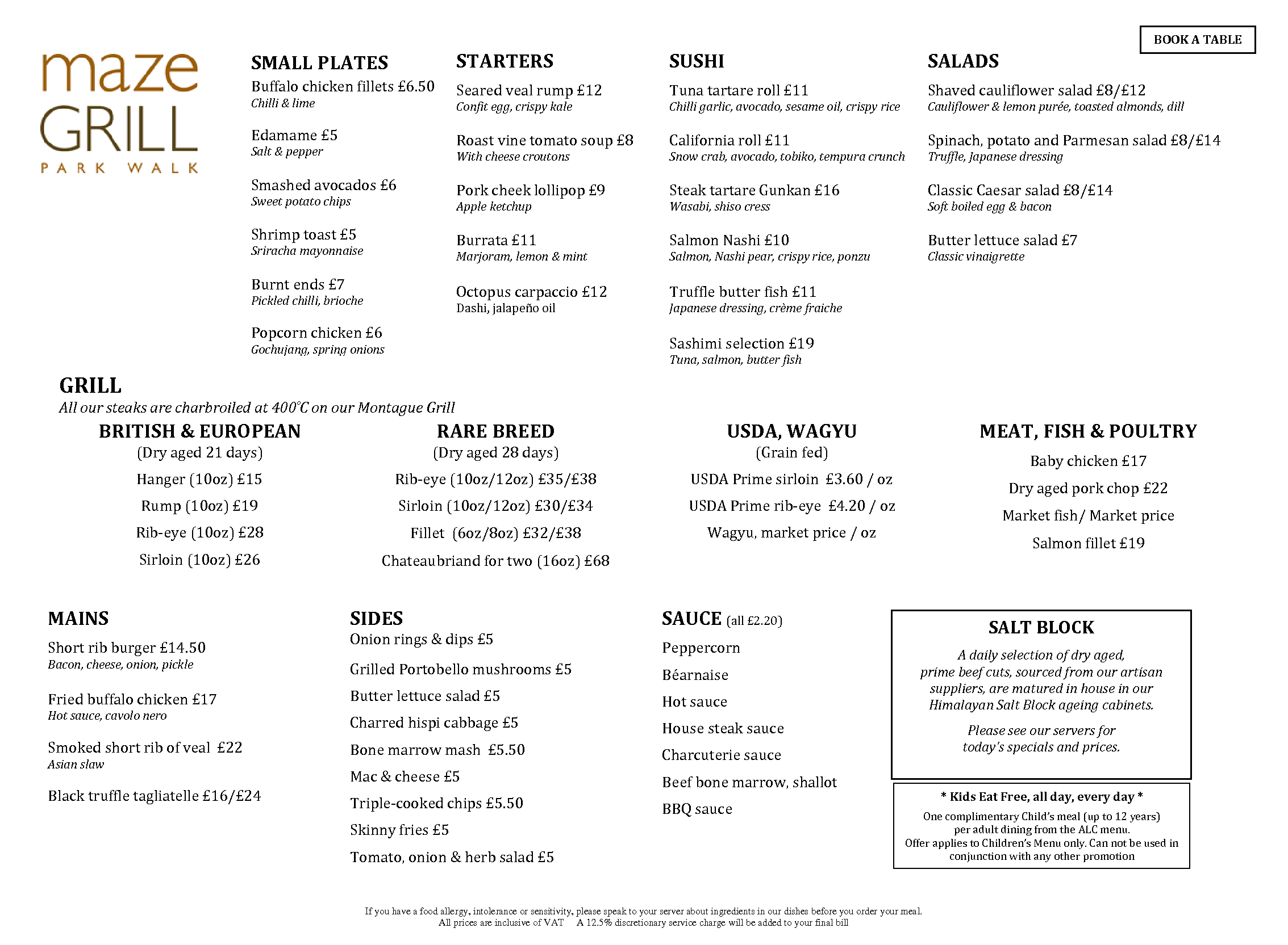 Maze Grill Drinks Menu