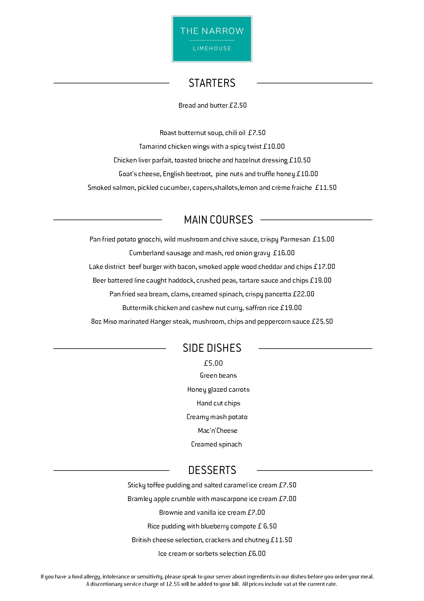menus the narrow gordon ramsay restaurants
