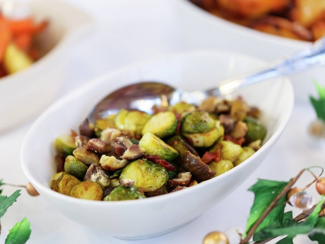 Christmas Brussels sprouts with bacon and chestnuts landscape