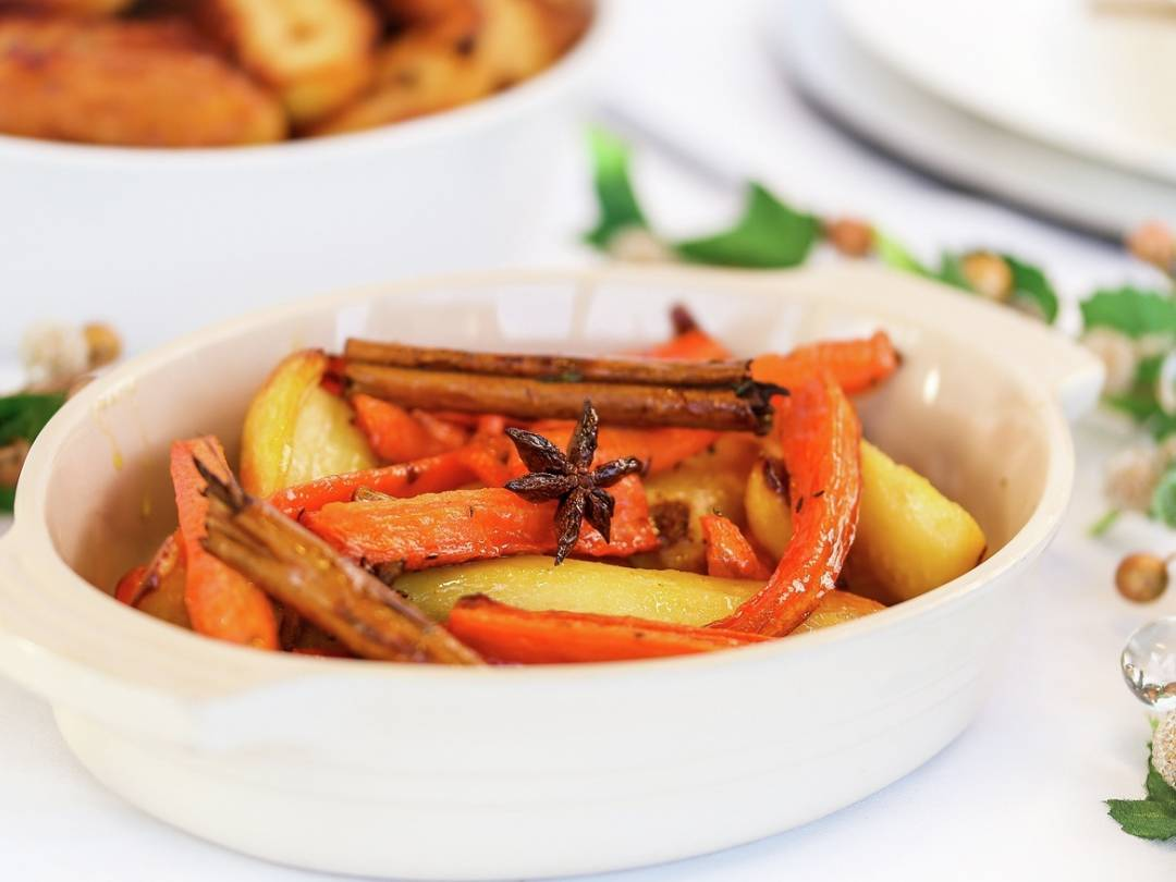 Christmas Honey glazed parsnips and carrots landscape