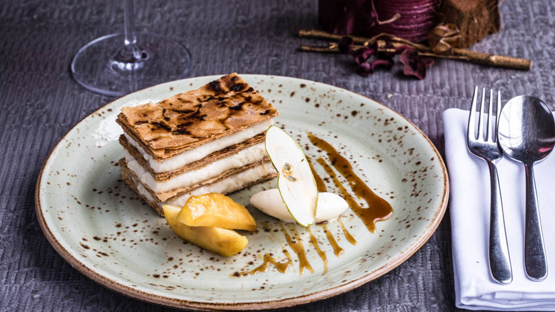 5 Apple cinnamon mille feuille Calvados toffee sauce