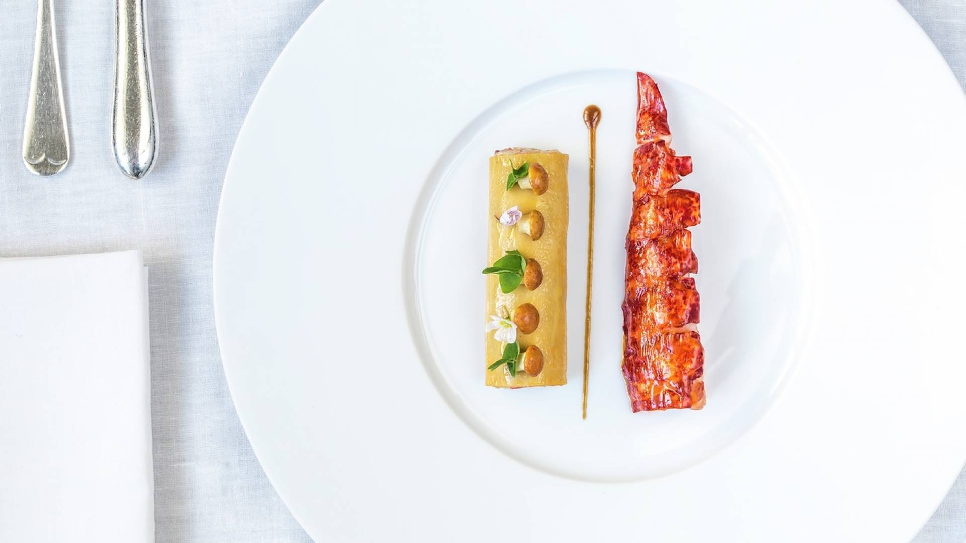 petrus butter poach native lobster truffle cannelloni girolles wood sorrel