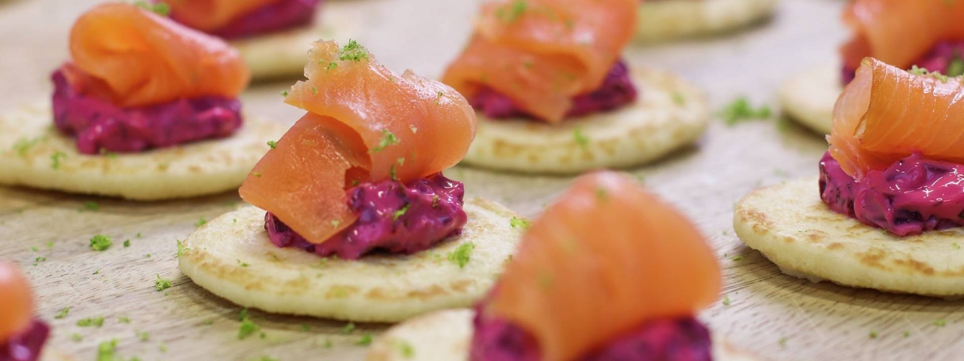 Christmas Smoked salmon blinis landscape
