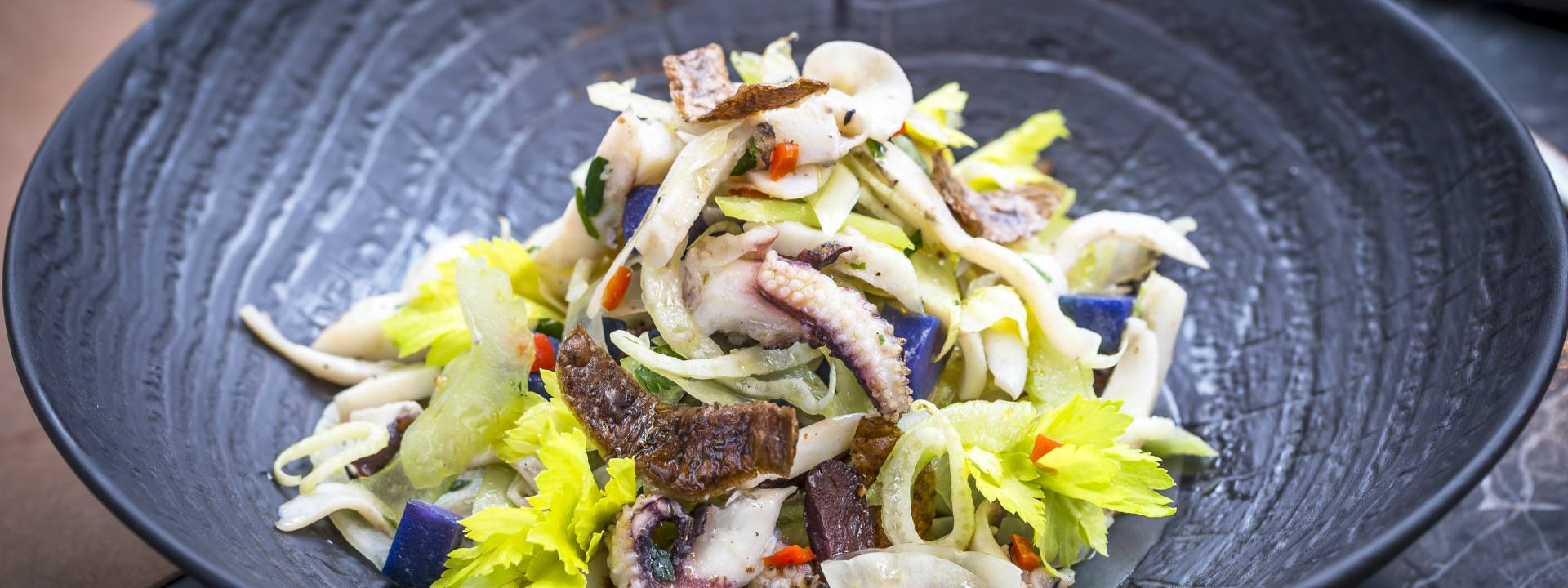 Cuttlefish celery vitelottepotatoesblack olives and lemon dressing 3