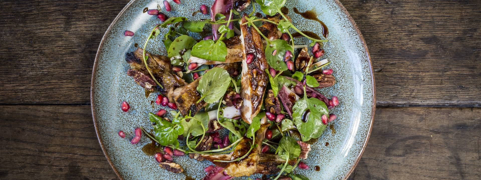 Grilled pheasant salad pomegranate wet walnuts port dressing 1 web