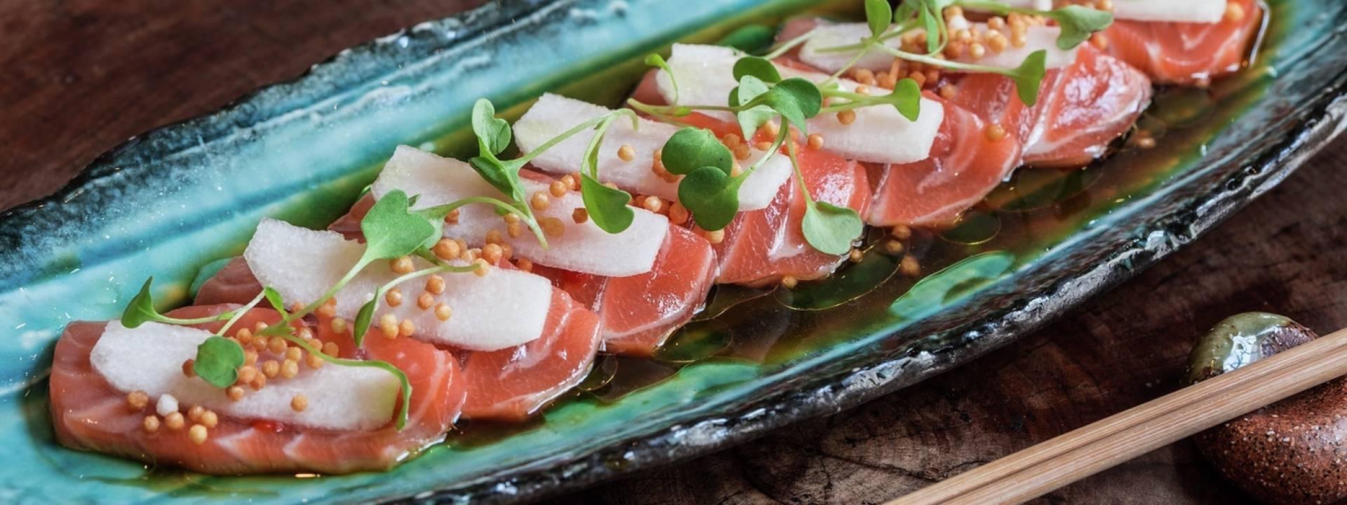 Salmon Sashimi & Jalapeno Dressing