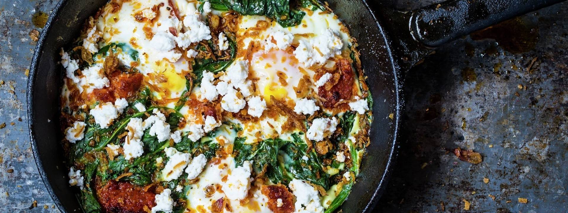 vb698322 Baked eggs spicy chorizo spinach crispy onions ricotta 1