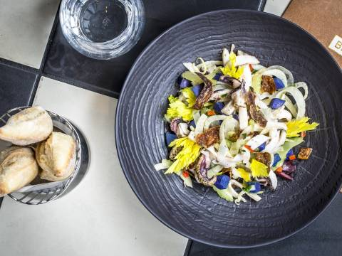 Cuttlefish celery vitelottepotatoesblack olives and lemon dressing 4