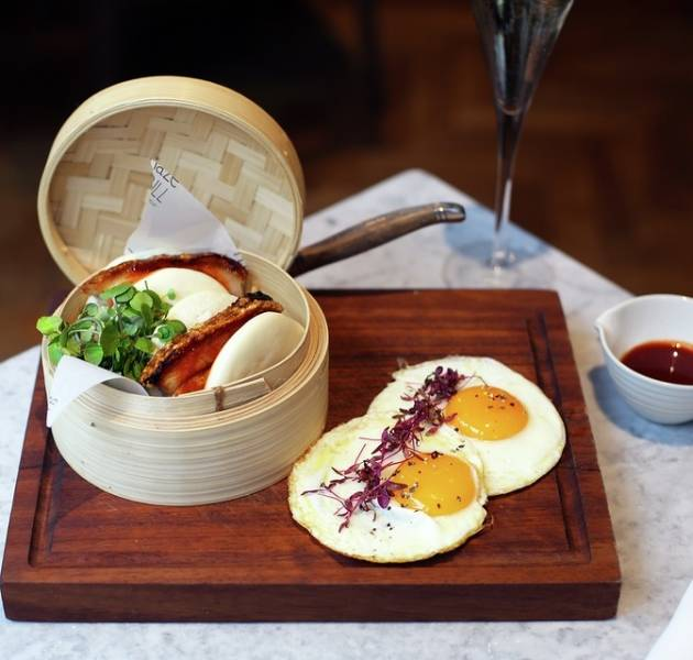 MG breakfast bao bun with pork belly and eggs