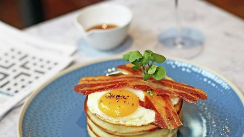 MG brunch pancake stack with egg bacon